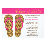 2012 Graduation Party Pink Animal Print Flip Flops Card