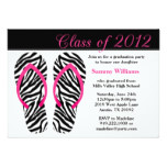 2012 Graduation Party Pink Black Zebra Flip Flops Card