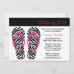 2013 Graduation Party Pink Black Zebra Flip Flops Invitation