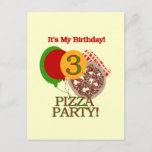 3rd Pizza Party Birthday Tshirts and Gifts Invitation Postcard