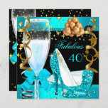 40 Fabulous Teal Blue Gold 40th Birthday Party 3 Invitation