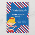 4th of July birthday girl Invitation