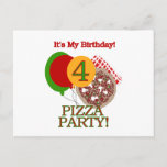 4th Pizza Party Birthday Tshirts and Gifts Invitation Postcard