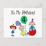 4th Stick Kids Party Birthday Tshirts and Gifts Invitation Postcard