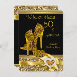 50 & fabulous Leopard Wild at Heart High Heels Invitation