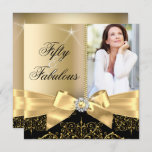 50 & Fabulous Photo Gold Black Bow 50th Birthday Invitation