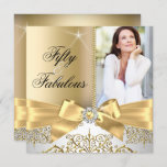 50 Fabulous Photo Gold Silver Bow 50th Birthday Invitation