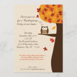 5x7 Fall Hoot Owl Harvest Thanksgiving Invitation
