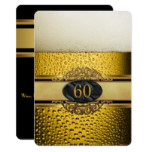 60th Mans Beer Black Gold Birthday Party Card