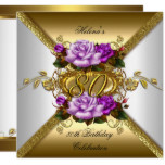 80th Birthday Party Elegant Purple Gold Roses 3 Card