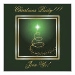 Abstract Christmas Tree Party  Invitation green