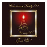 Abstract Christmas Tree Party  Invitation Red
