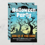 Aqua haunted graveyard Halloween party Invitation