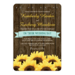 AQUA RUSTIC SUNFLOWER WEDDING INVITATION