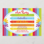 Arts & Crafts Kids Paint Birthday Party Invitation
