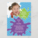 Arts & Crafts Kids Paint Photo Birthday Party Invitation