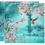 Asian Teal Pink Blossom Birthday Party Bird 2 Card