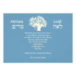 B'Nai Mitzvah Twins Tree of Life Hebrew Card