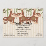 Baby Shower Triplet Monkeys Invitation