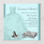 Ball Gown High Heel Shoes Teal Blue Quinceanera Invitation