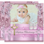 Baptism Pink Cross Girl Photo Christening Shoes Card
