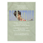 Bar Mitzvah Photo Invitation in Green Crinkled
