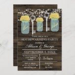 Barn wood mason jars keys rustic housewarming invitation