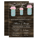 Barn wood mason jars rustic housewarming card
