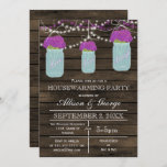 Barn wood mason jars rustic housewarming invitation