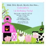Barnyard Animal Fun Birthday Party Pink Girls Card