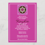 Bat Mitzvah Invitation Kaylie Jewish Star Pink