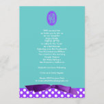 Bat Mitzvah Invitation Purple Bow Polka Dot