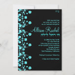 Bat Mitzvah Invitations Allison Flowers Black/Blue