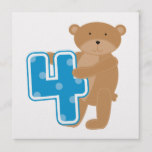 Bear 4th Birthday Tshirts and Gifts Card