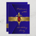 Birthday Party 40th Blue Faux Velvet Red gold Gem Invitation