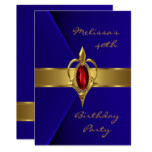 Birthday Party 40th Blue Velvet Red gold jewel Invitation