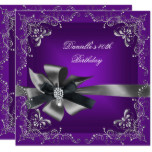 Birthday Party 40th Purple Silver Black Grey Card