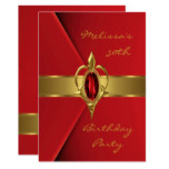 Birthday Party 50th Velvet Red Pearl gold jewel Invitation
