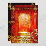 Birthday Party Asian View Gold Bamboo Red Invitation