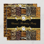 Birthday Party Mixed Animal Prints Gold Black Invitation