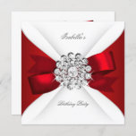 Birthday Party Red White Diamond Red Bow Invitation