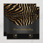 Birthday Party Zebra Black Gold Africa Wild 2 Invitation