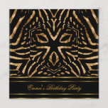 Birthday Party Zebra Black Gold Africa Wild Invitation
