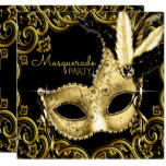 Black and Gold Feather Mask Masquerade Party Card