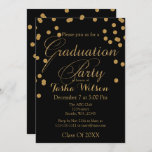 Black and Gold Glitter Graduation Invite