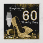 Black and Gold Stepping Into 60 Birthday Party Invitation