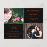 Black and Orange Four Square Star Graduation Invitation