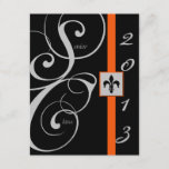 Black and Orange Scroll Ribbon Graduation Invitation