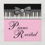 Black and Pink Piano Keys Recital Invitation