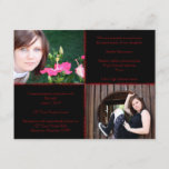 Black and Red Four Square Star Graduation Invitation